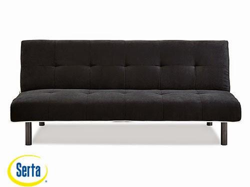 Xoom Convertible Sofa Black w/White Piping by Serta / Lifestyle